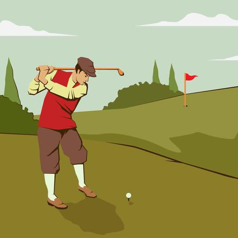 Weinlese-Golf-Mann-Illustrations-Vektor