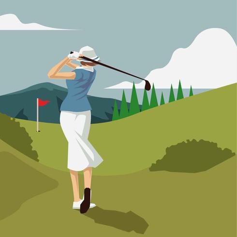 Vintage Golf Lady Illustration Vector
