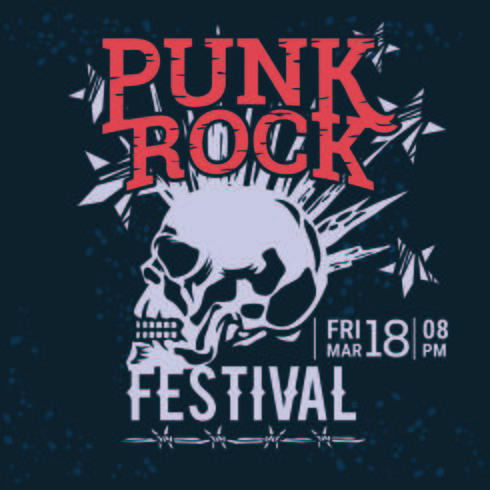 Hipster Punk Rock Festival Poster with Skull and Stars lightning Starburst