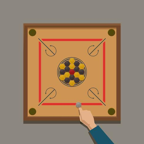 Jouer Carrom Illustration Vector