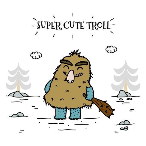 super söt trollvektor