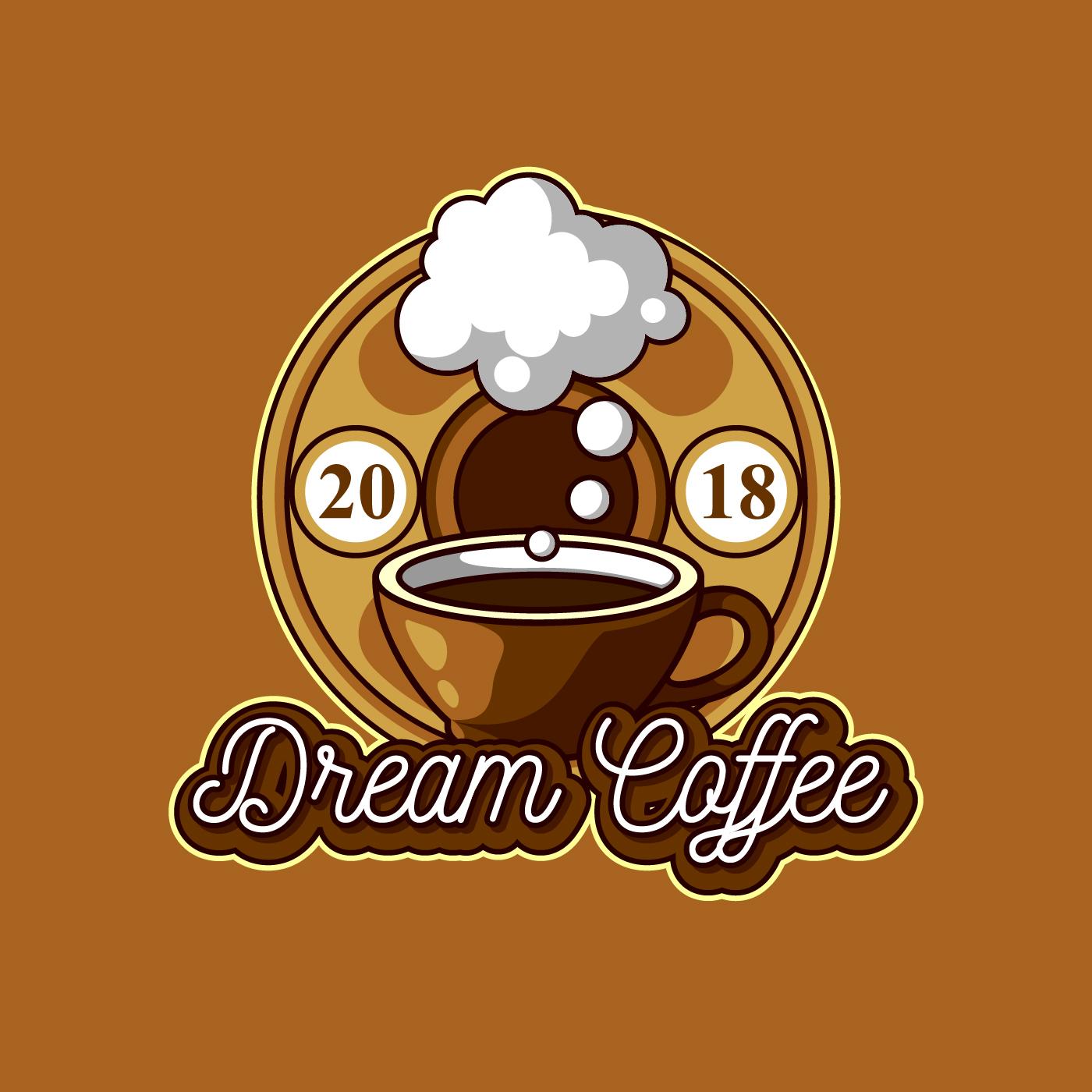 Retro Design Restaurant Logo: Dream Coffee Shop Logo Free Vector