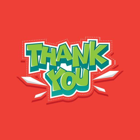 Thank You Typography Sticker Vector