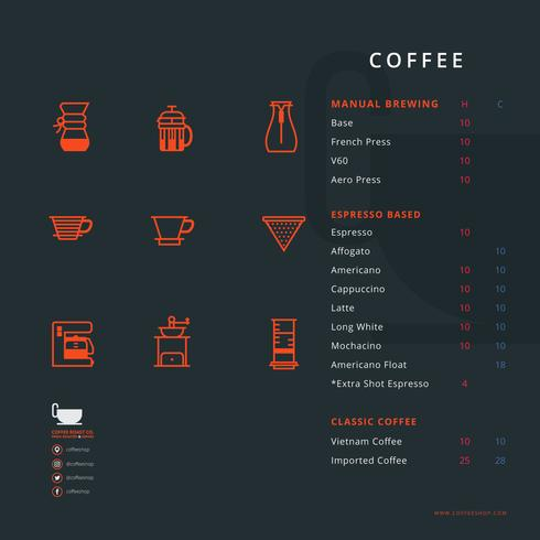 Coffee Shop Menu with Coffee Tools Equipment