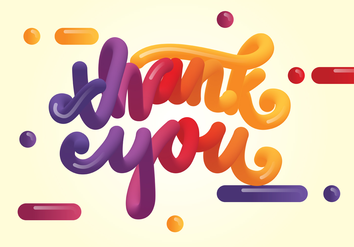 3D Thank You Typography Vector
