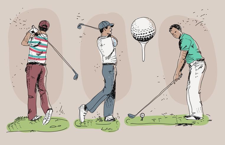 Weinlese-Golf-Spieler-Hand gezeichnete Vektor-Illustration