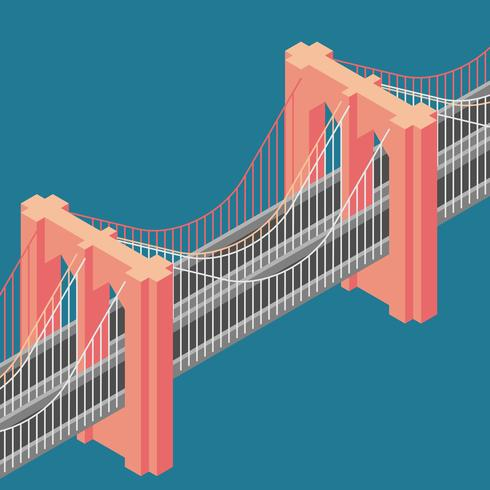 Brooklyn Bridge New York Isometric Illustration vector