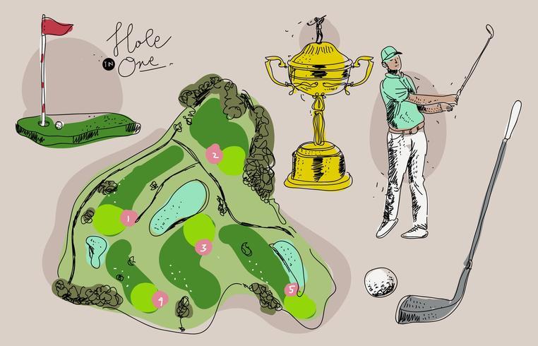 Vintage Golf Championship Hand Drawn Vector Illustration