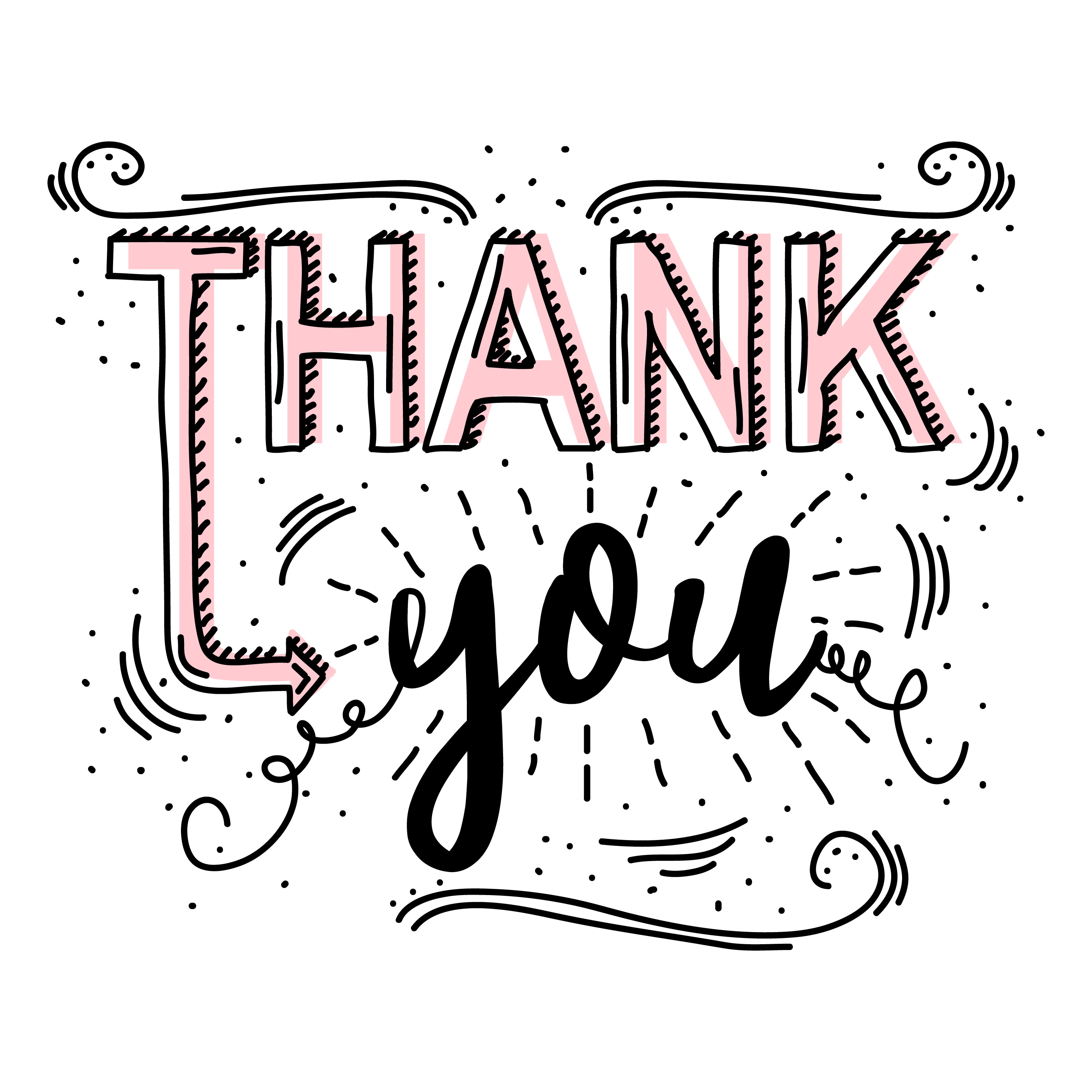 thank you typography vector