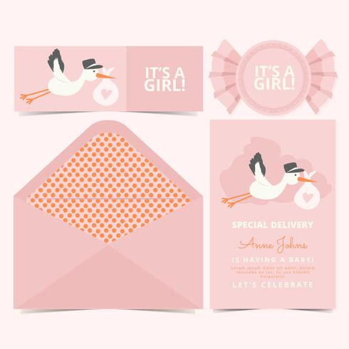 Vector Pink Baby Announcement Card