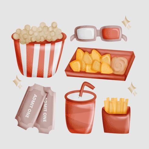 Vector Hand getrokken Movie Night Essentials