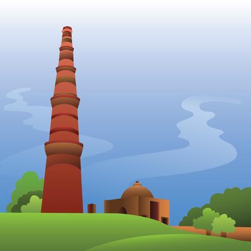 Beautiful Qutub Minar Illustration