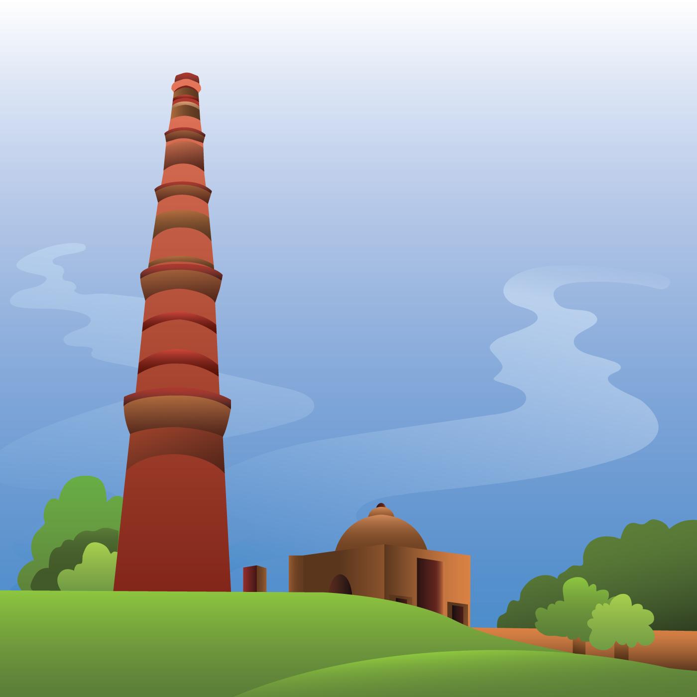 Line Drawing Of Qutub Minar : Qutub free vector art downloads