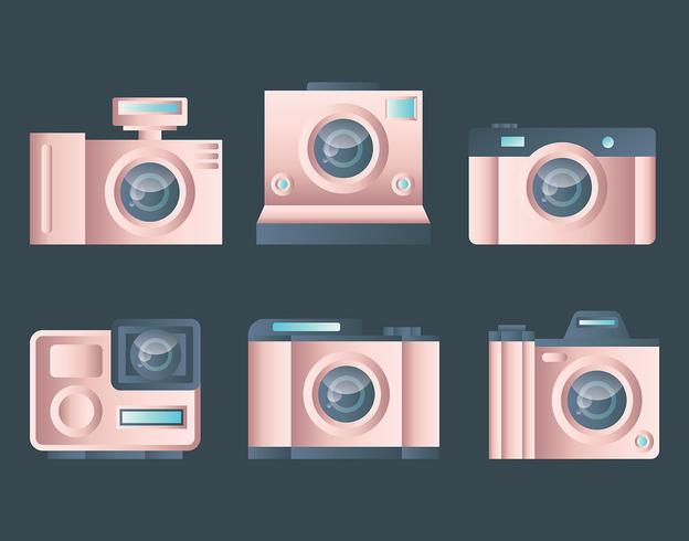 Rosegold Camera Set Vector