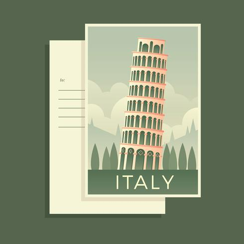 Pisa Tower Italy Post Card Vector