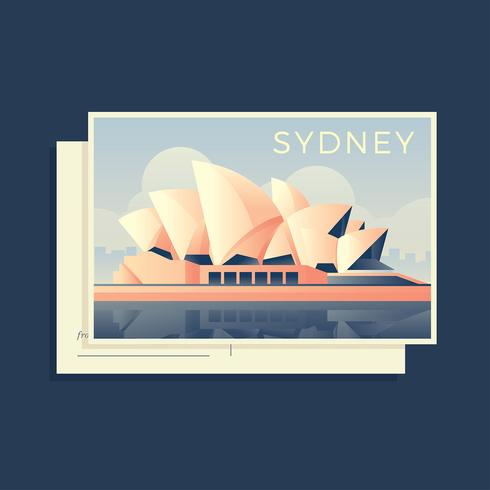 Sydney Opera House Australia Postcard Vector