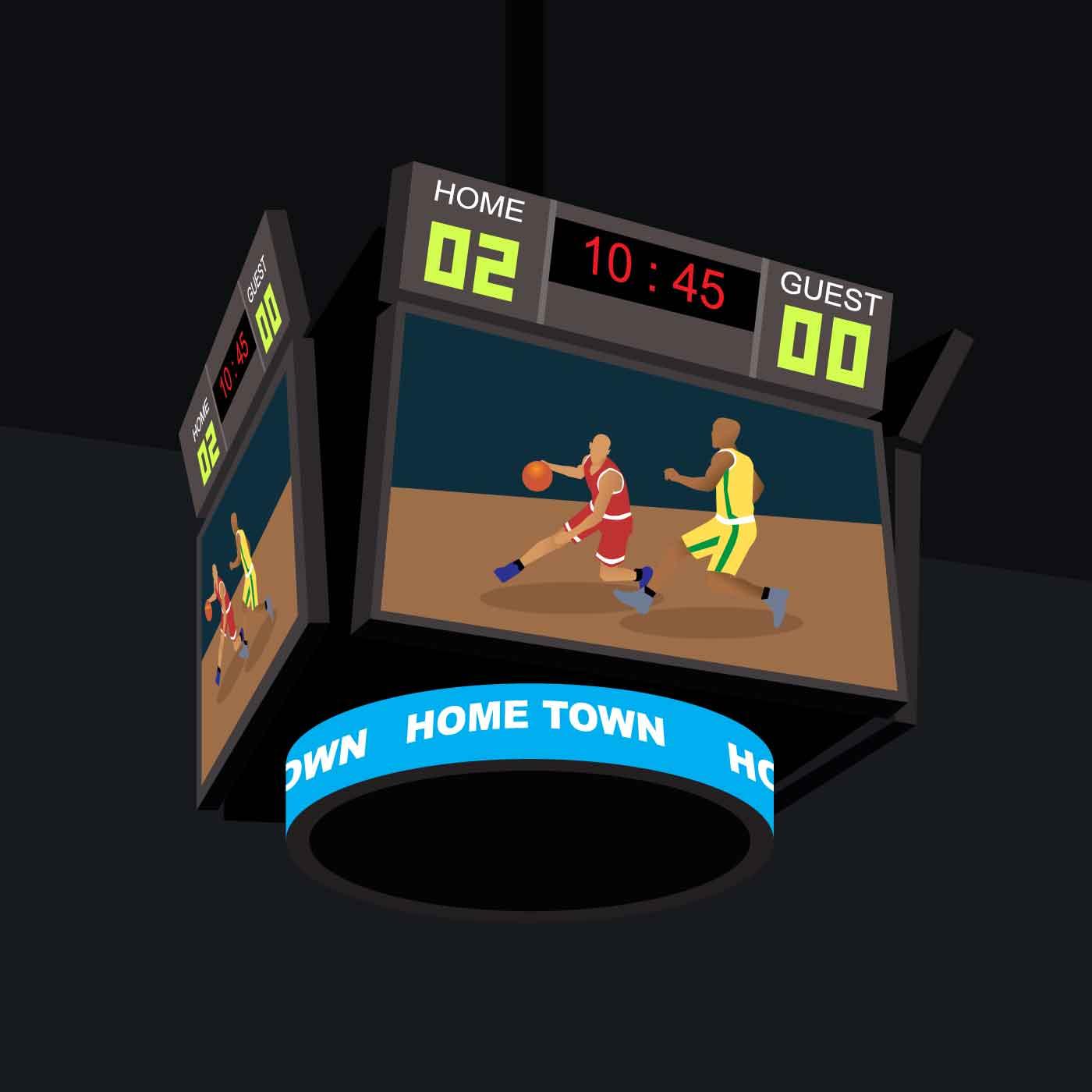 Arena Lights Gif: Basketball Jumbotron Illustration