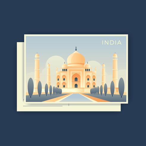 Taj Mahal India Postcard Vector