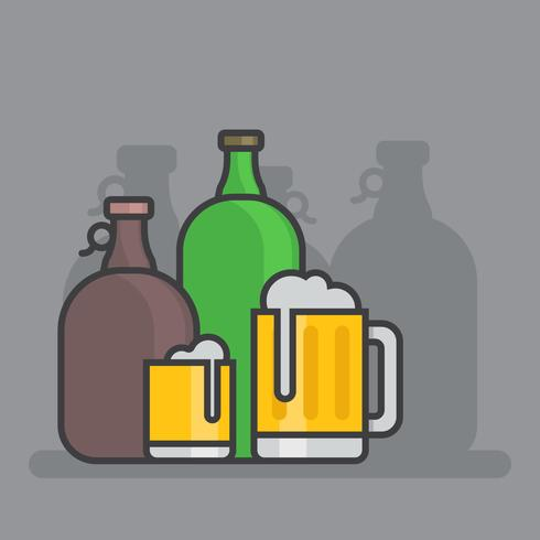 Craft Beer Growler Bottle Set Illustration