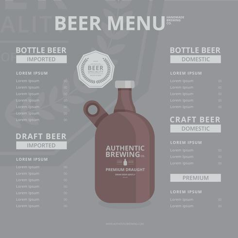 Craft Beer Growler Menu Template