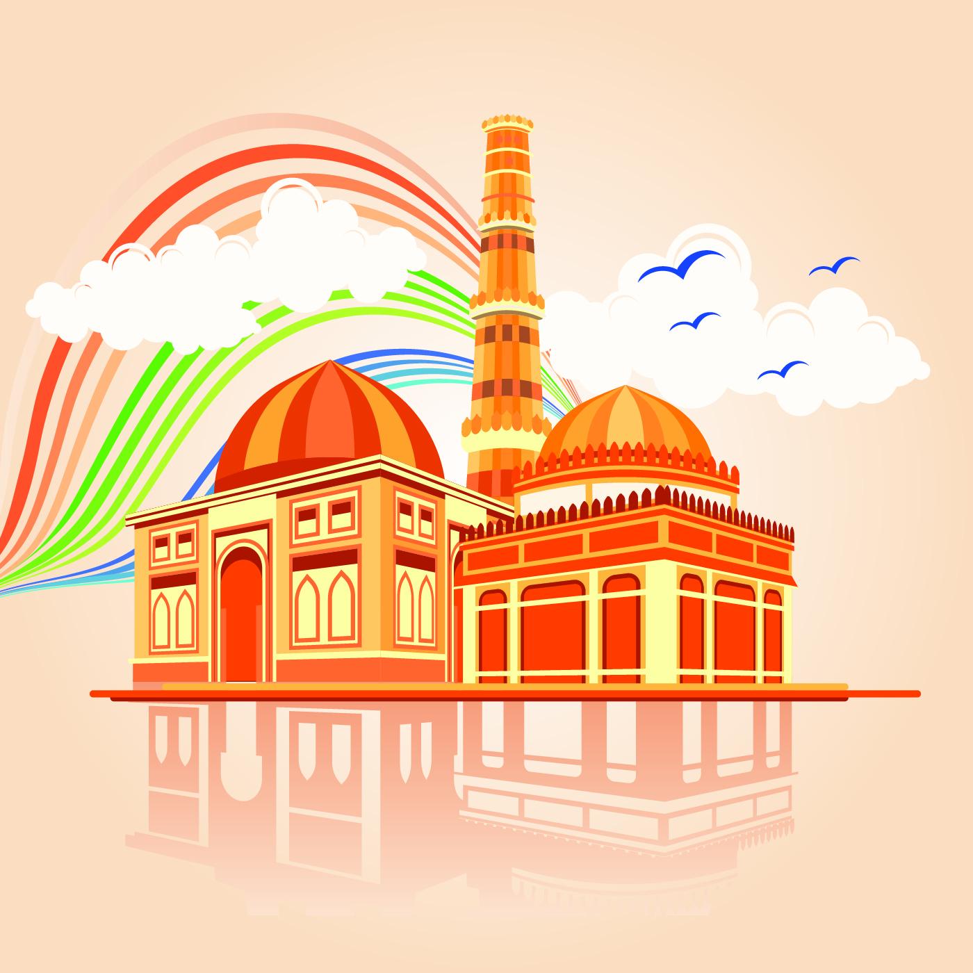 Vector illustration of Qutab Minar in Delhi - Download ...