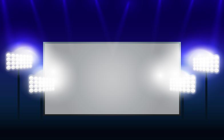 Jumbotron e Floodlights Espaço em branco da tela de cópia