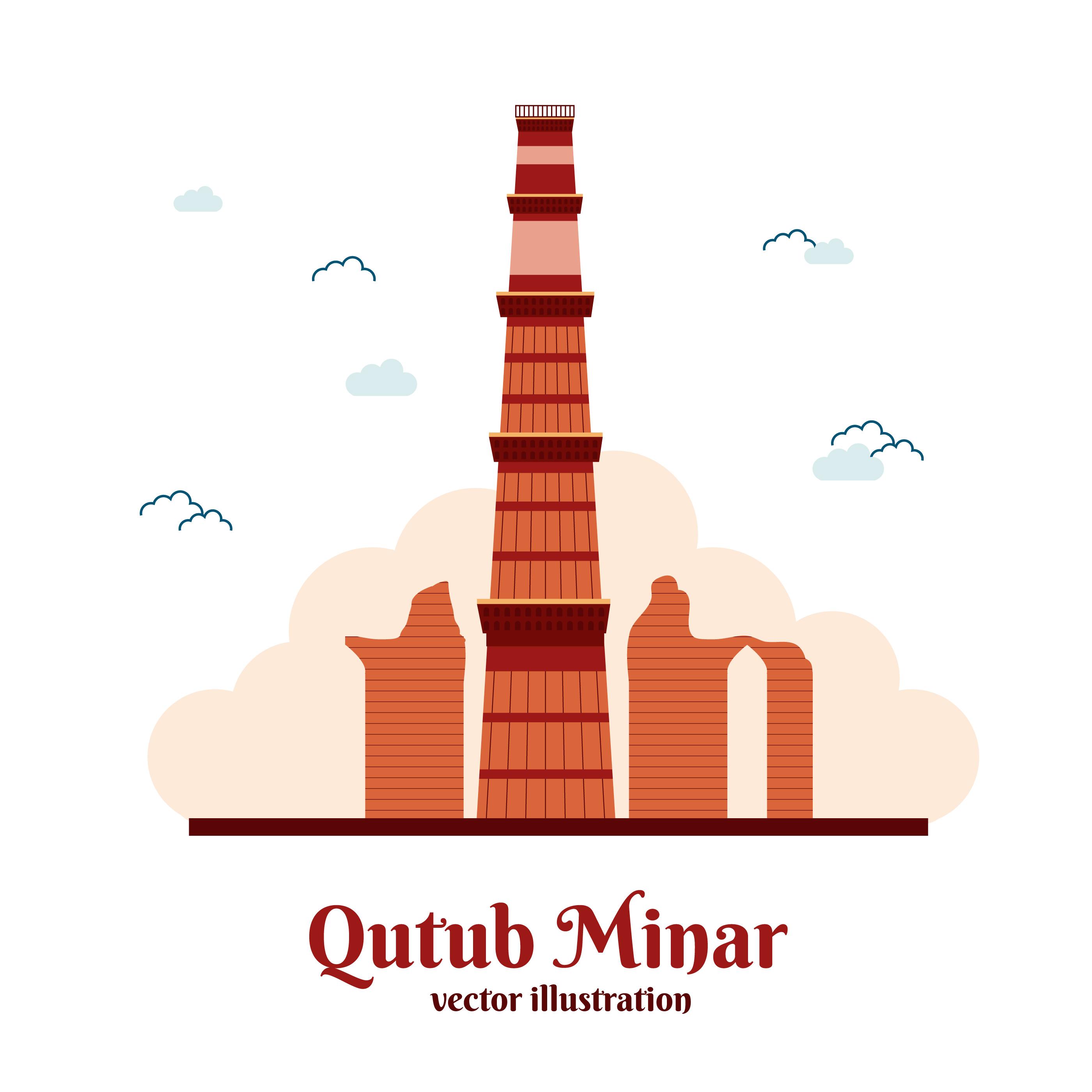 Line Drawing Of Qutub Minar : Qutub minar free vector art downloads
