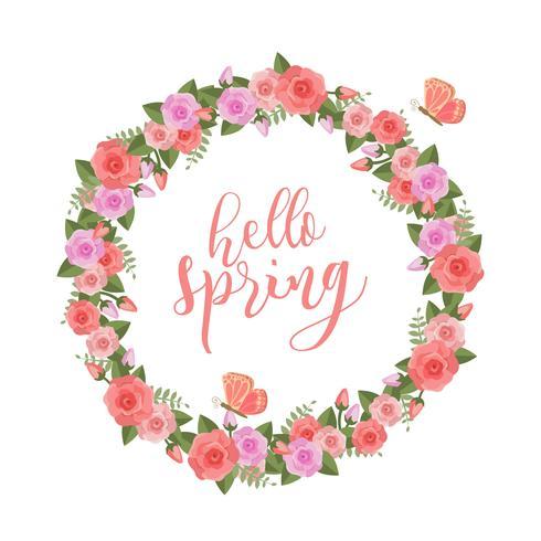 Blumenfrühling-Kranz-Vektor
