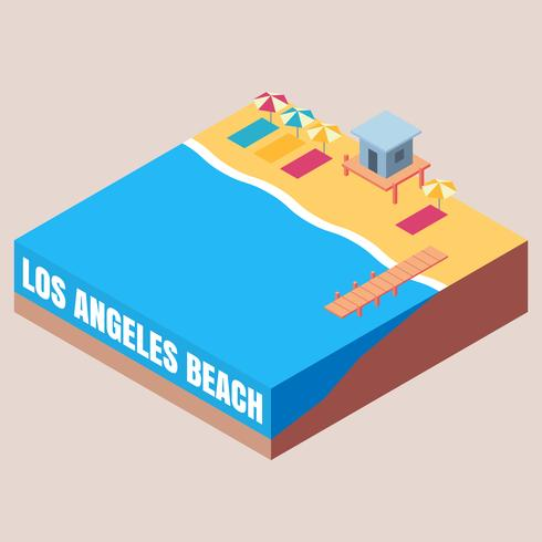 Los Angeles Beach Life Picnic Isometric Illustration