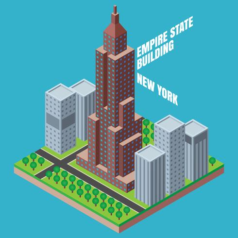 Empire State Building New York Isometric Illustration