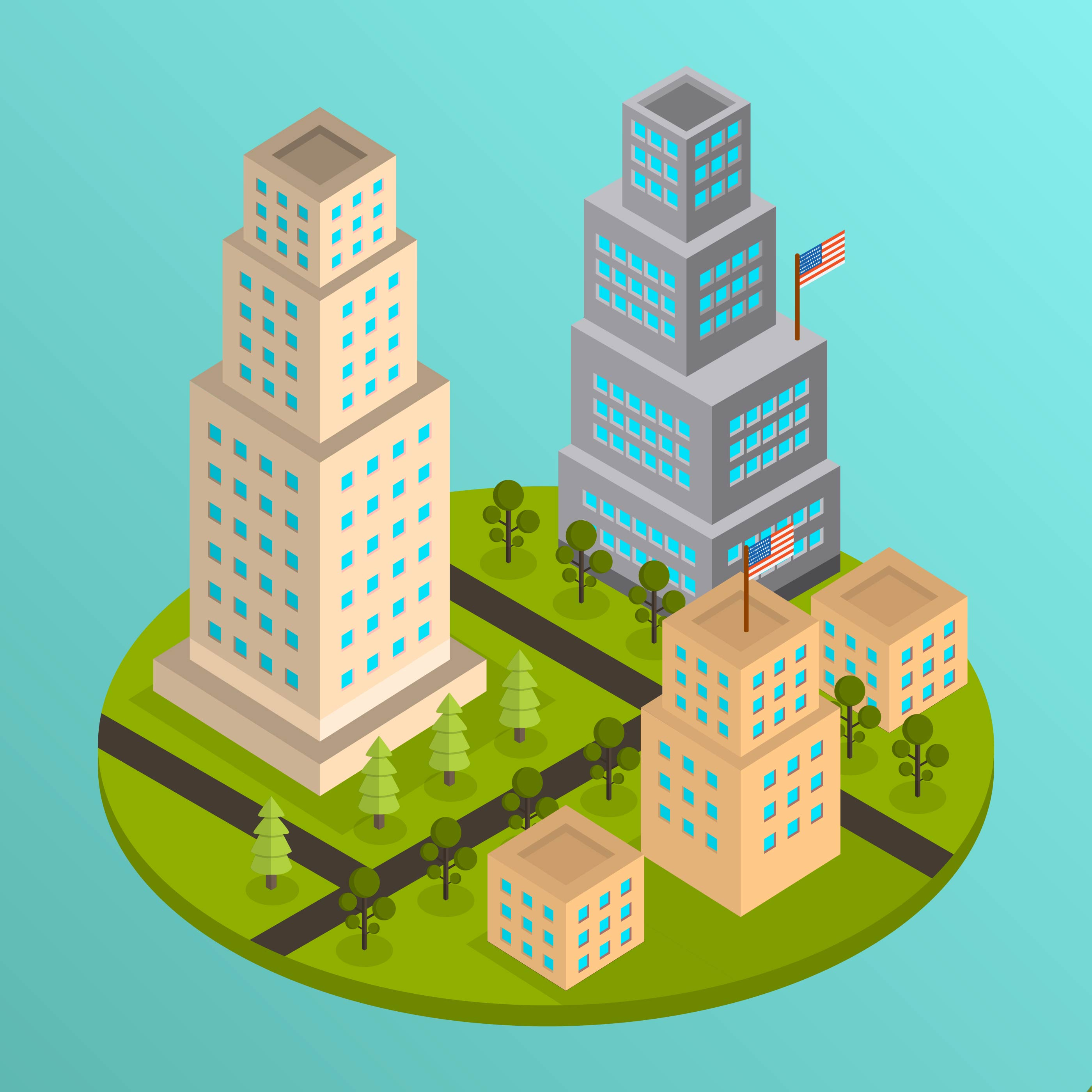 Flat Nyc: Flat Isometric NYC Vector Illustration