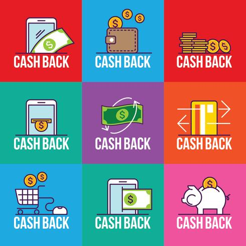 Conjunto de emblema de Cashback para loja, Tag Label Cash Back After Sale Illustration vetor