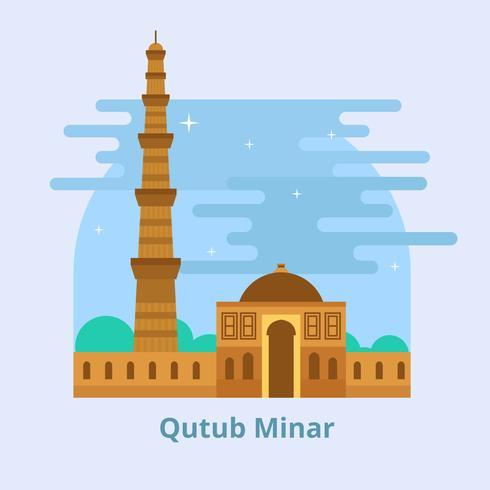 Qutub Minar Landmark Vector