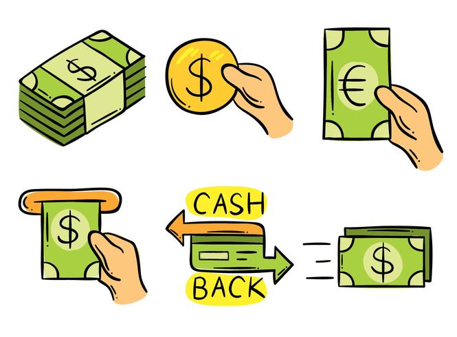 Hand Drawn Cash Back Element Vector