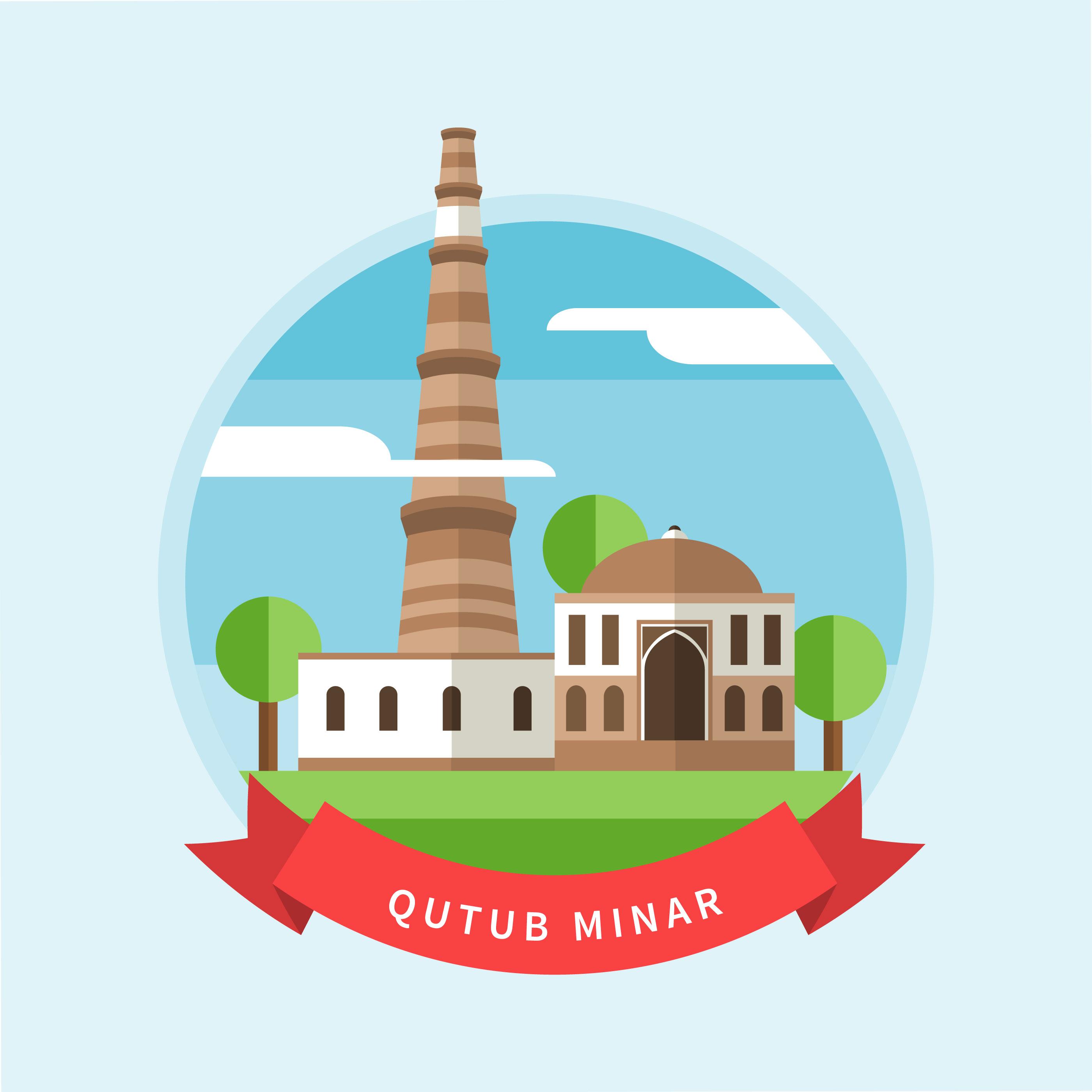 Line Drawing Of Qutub Minar : Qutub minar vector illustration download free art
