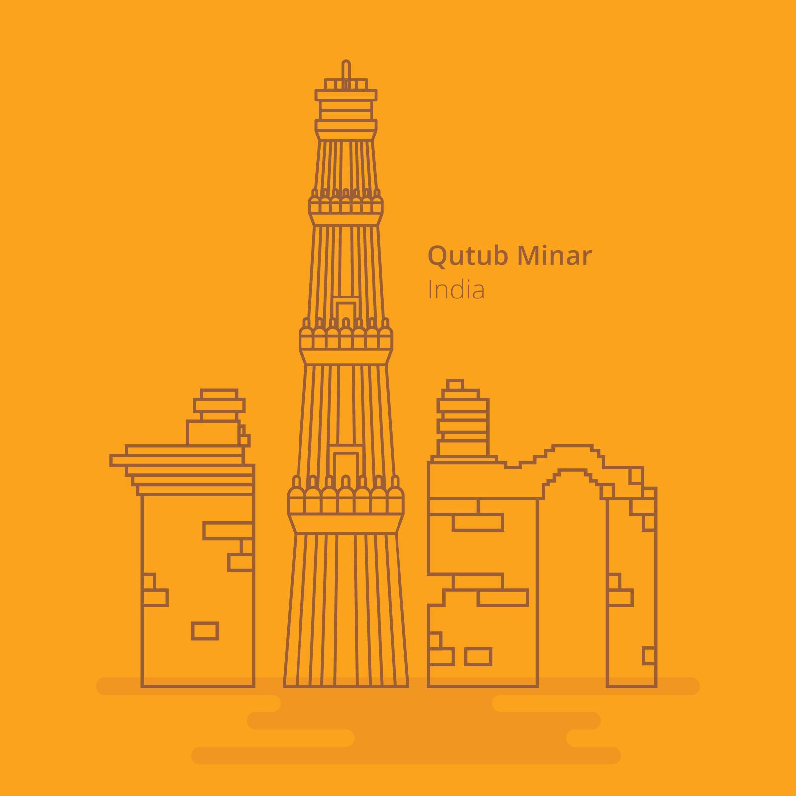 Line Drawing Of Qutub Minar : Qutub minar india landmark line style download free