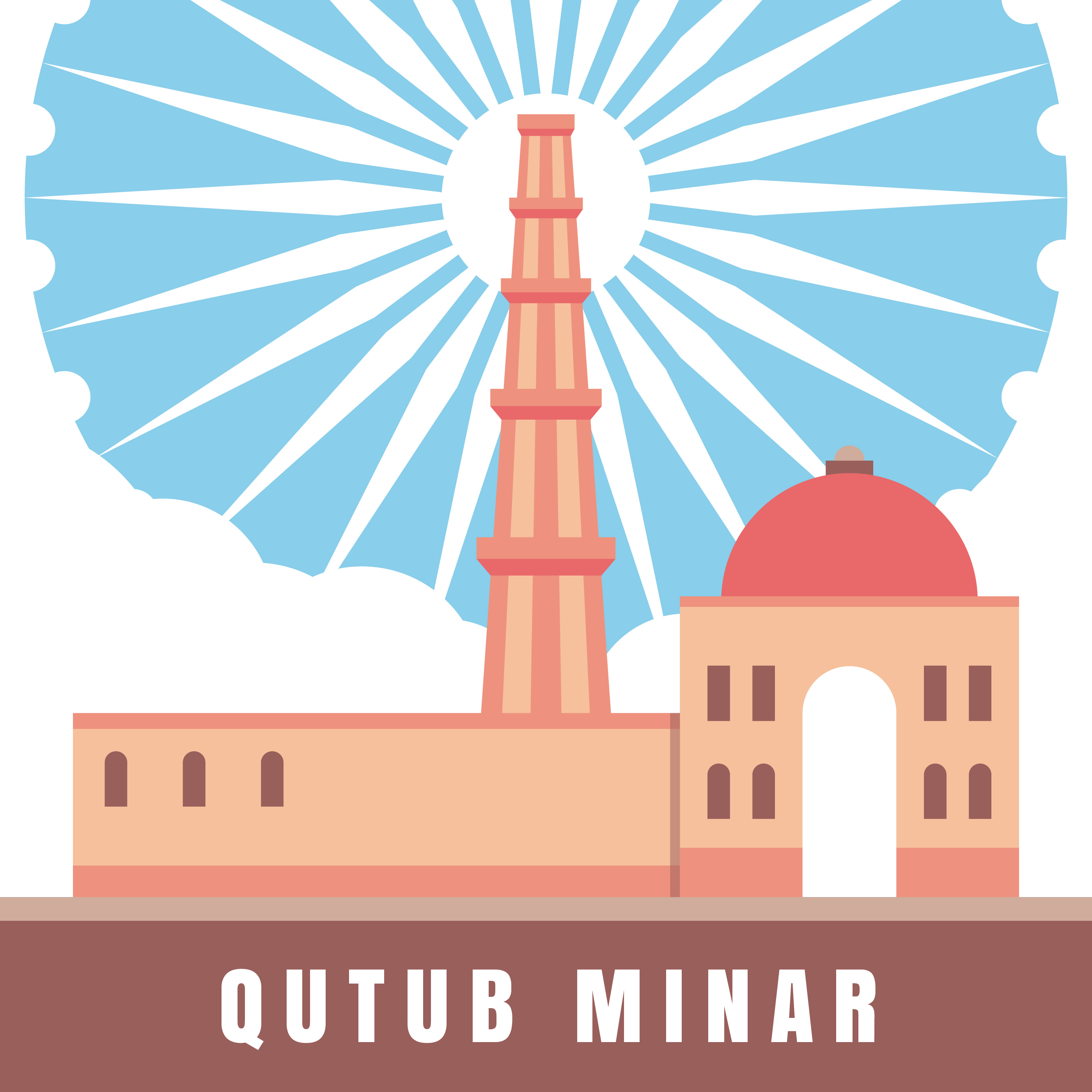 Line Drawing Of Qutub Minar : Indian architecture qutub minar illustration download