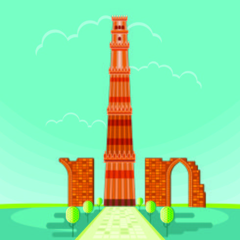 Vektor illustration av Qutab Minar i Delhi