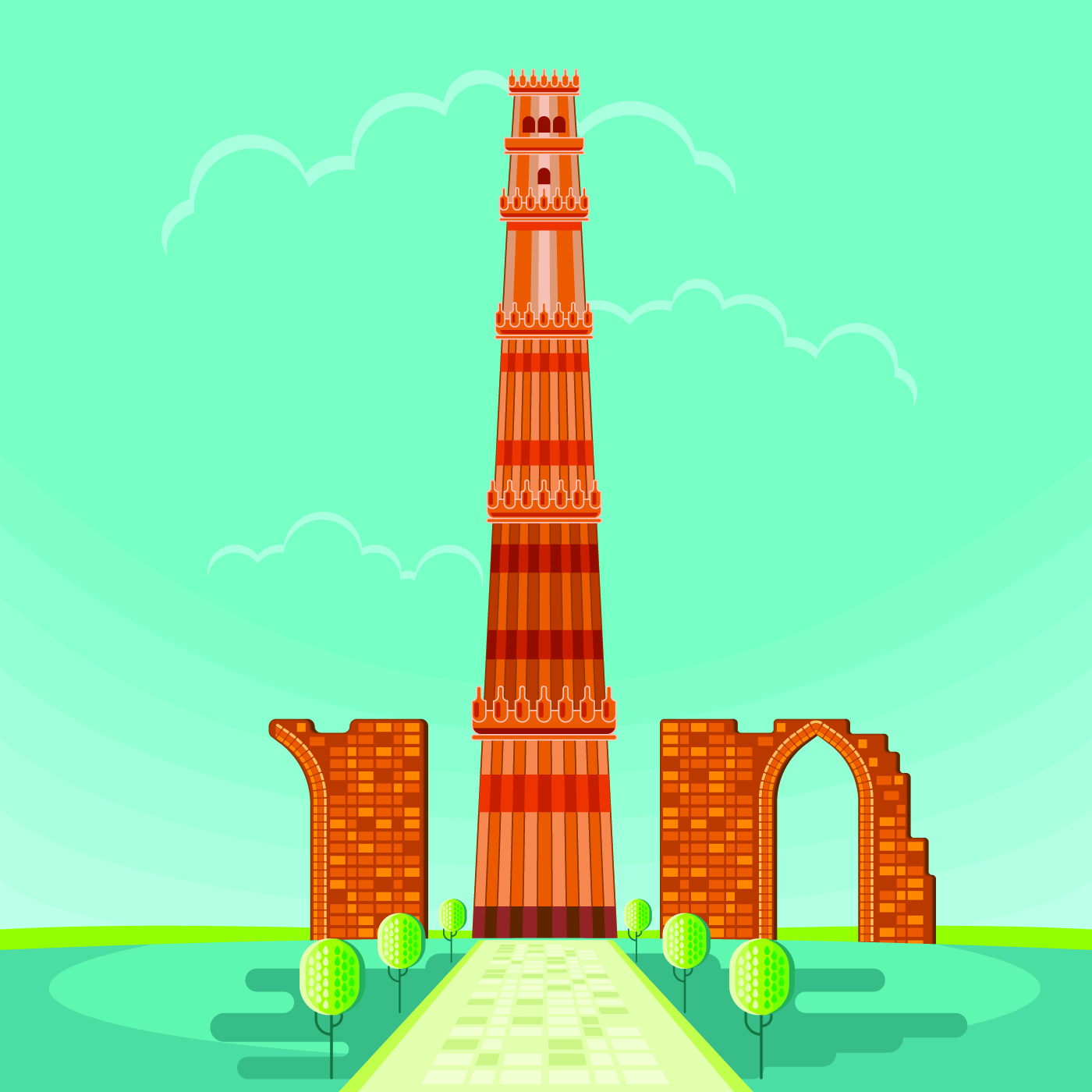 Vector Illustration Of Qutab Minar In Delhi