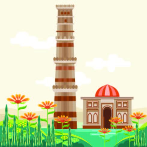 Qutub Minar, een UNESCO-werelderfgoed, gebouwd in de vroege 13e eeuw. Gelegen in het zuiden van Delhi, India