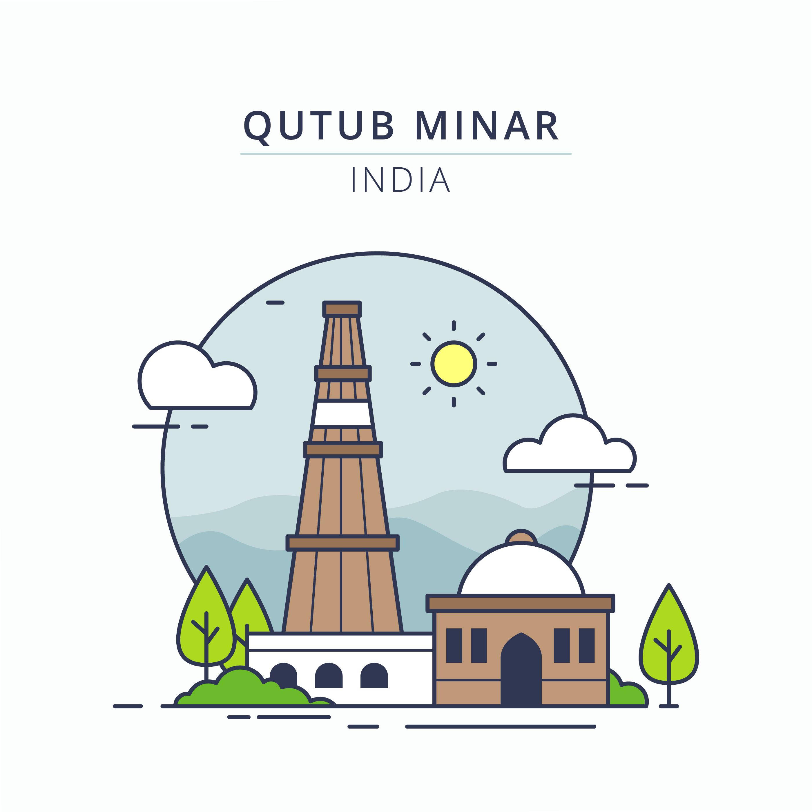 Line Drawing Of Qutub Minar : Qutub minar illustration download free vector art stock