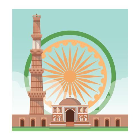 Qutub Minar India Landmark Vector Illustration