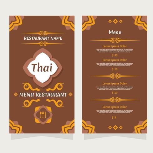 Vector de menú tailandés