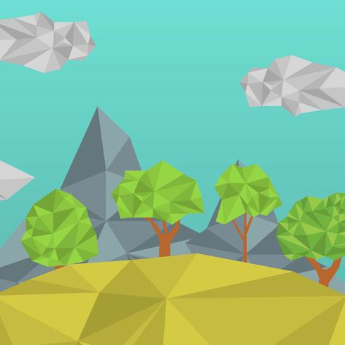 Flat Low Poly Forest Vector Illustration