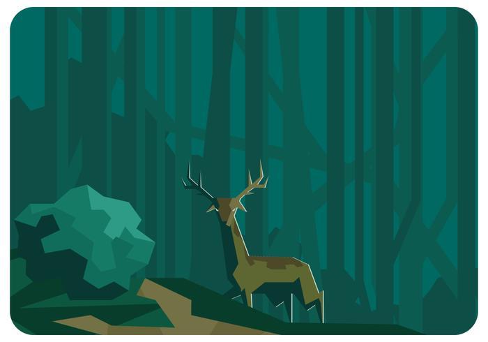 Forêt Low Poly et vecteur de cerf