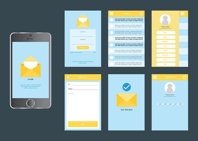 Ensemble de vecteur Mobile App Gui