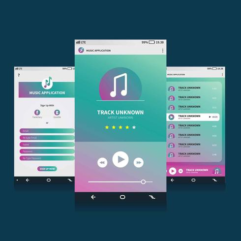Music Mobile Application GUI Illustration