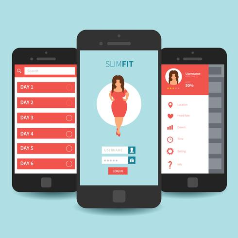 Mobile App UI Template Design - Download Free Vector Art, Stock ...