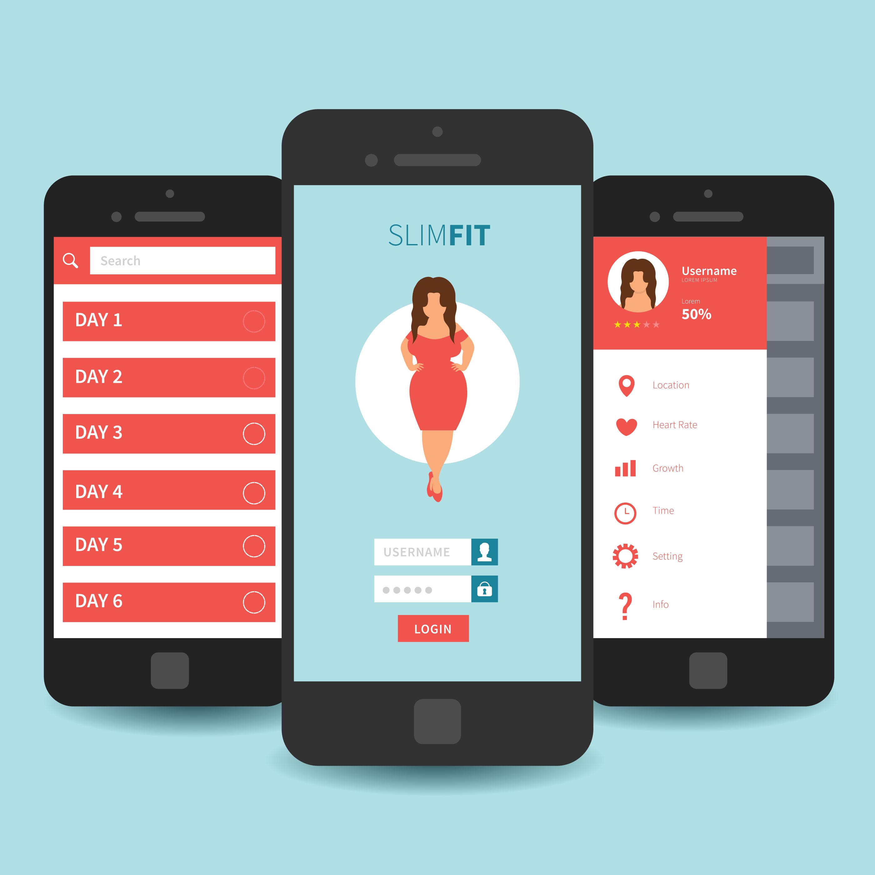 mobile app ui template design download free vector art stock graphics images. Black Bedroom Furniture Sets. Home Design Ideas