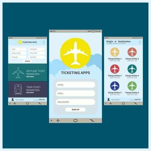 Ticketing Mobile Apps GUI-Illustration